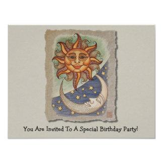 Sun Moon & Stars 11 Cm X 14 Cm Invitation Card