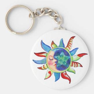 SUN, MOON & STARS by SHARON SHARPE Basic Round Button Key Ring