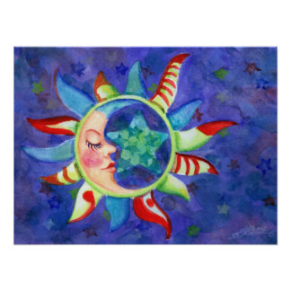 SUN, MOON & STARS by SHARON SHARPE Poster