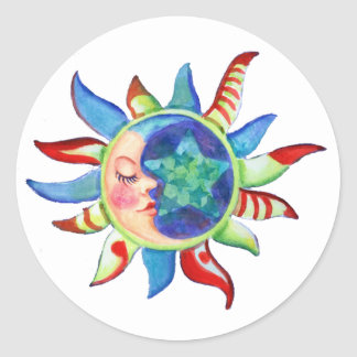 SUN, MOON & STARS by SHARON SHARPE Round Sticker