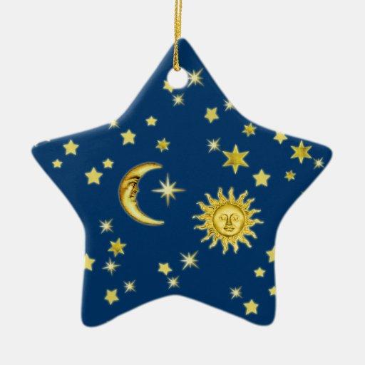 Sun, Moon & Stars Double-Sided Star Ceramic Christmas Ornament