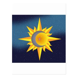 SUN MOON STARS FUSION ABSTRACT POSTCARD