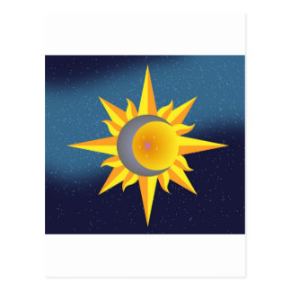 SUN MOON STARS FUSION ABSTRACT POST CARDS