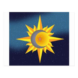 SUN MOON STARS FUSION ABSTRACT POST CARD