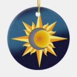 SUN MOON STARS FUSION ABSTRACT ROUND CERAMIC DECORATION