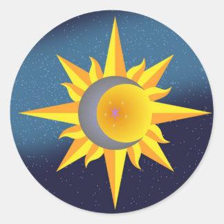 SUN MOON STARS FUSION ABSTRACT ROUND STICKER