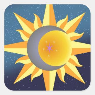 SUN MOON STARS FUSION ABSTRACT SQUARE STICKER