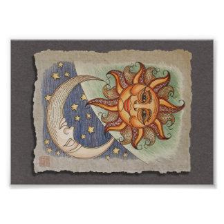 Sun Moon Stars Photographic Print