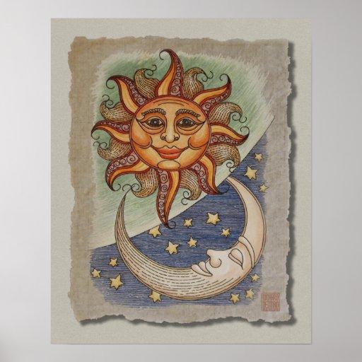 Sun Moon & Stars Poster