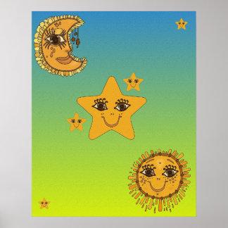Sun, Moon, Stars Poster