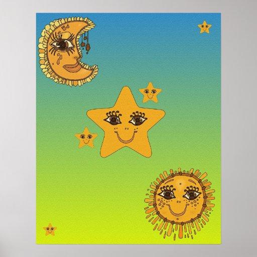 Sun, Moon, Stars Print