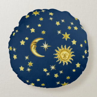 Sun, Moon & Stars Round Cushion