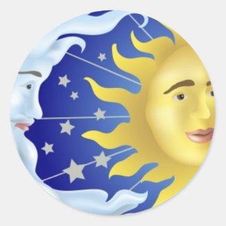 Sun, Moon, Stars Round Stickers