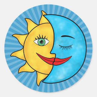 Sun Moon Round Stickers