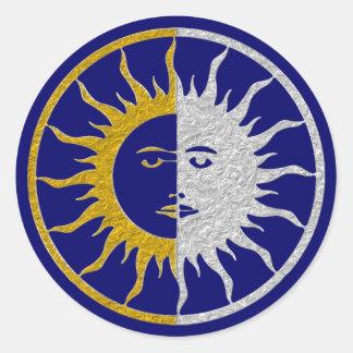 SUN & MOON Symbol - gold silver Round Sticker