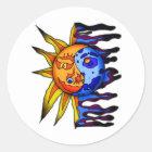 Sun / Moon Yin Yang Classic Round Sticker