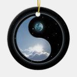 Sun-Moon Yin-Yang Round Ceramic Decoration