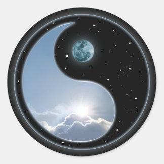 Sun-Moon Yin-Yang Round Sticker