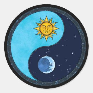 Sun Moon Yin Yang Round Sticker