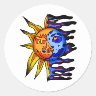 Sun / Moon Yin Yang Round Sticker