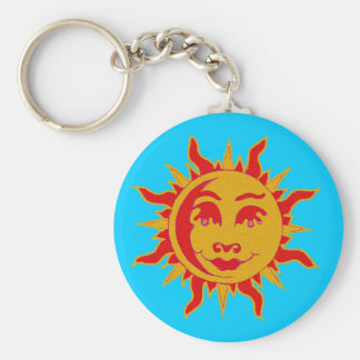 Sun Motif Button Key Chain