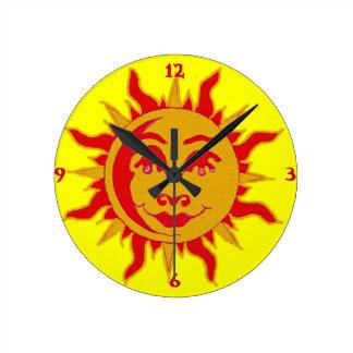 Sun Motif Wall Clock