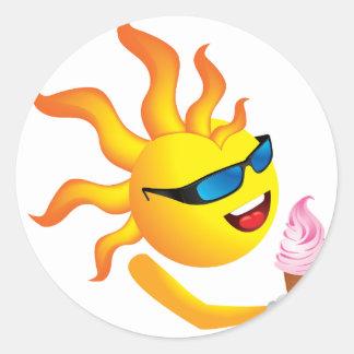Sun n Ice Cream Round Sticker