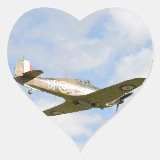 Sun On A Hawker Hurricane Heart Sticker