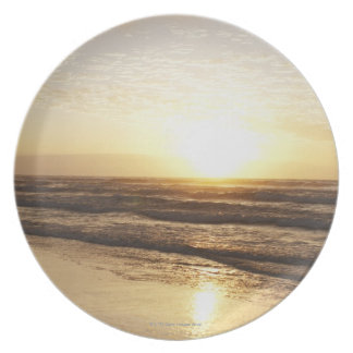Sun on horizon over ocean plate