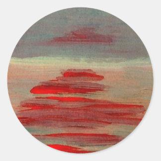 Sun on the Water Ocean Sunset Sunrise Seascape Round Sticker