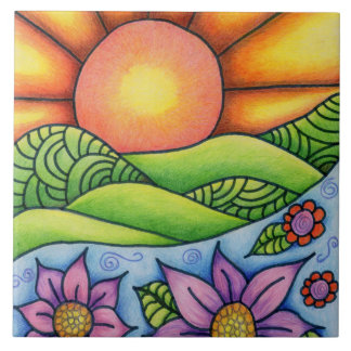 Sun Over Hills Stream and Flowers Tile