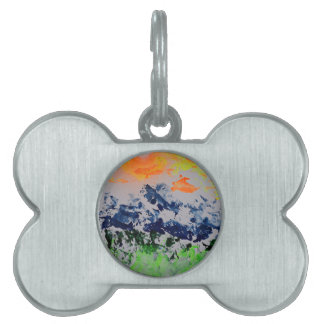 Sun over snow clad mountains pet ID tag