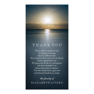 Sun Over the Ocean | Sympathy Thank You Photo Card Template
