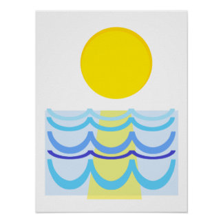Sun Over the Water Abstract Poster