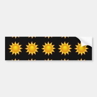 sun pattern black bumper stickers