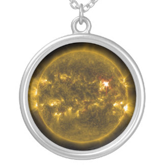 Sun power silver plated necklace