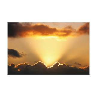 Sun rays and dark clouds canvas print
