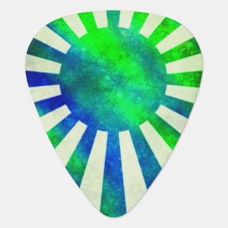 Sun rays green blue look Japan flag Plectrum