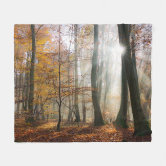 Sun Rays Mystic Misty Forest soft Fleece Blanket
