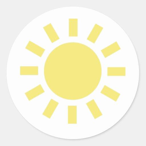 Sun: Retro weather symbol Round Stickers