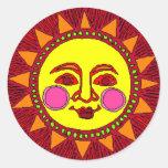 Sun Round Stickers