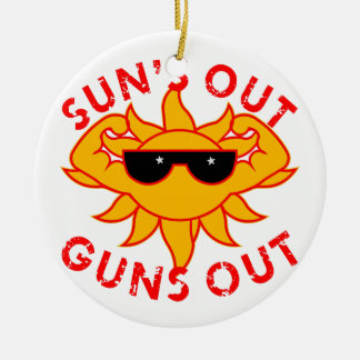 Sun's Out Guns Out Body Building Strength Training Christmas Ornament