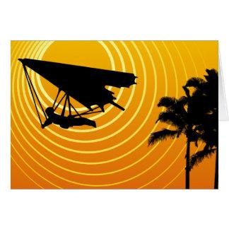 sun scene hang gliding greeting card