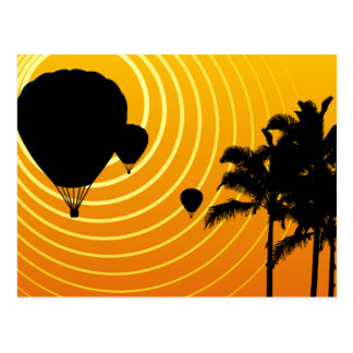 sun scene hot air balloons postcard
