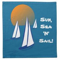 Sun, Sea 'N' Sail Coastal Yachts Printed Napkin