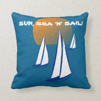 Sun, Sea 'N' Sail Coastal Yachts Throw Pillow