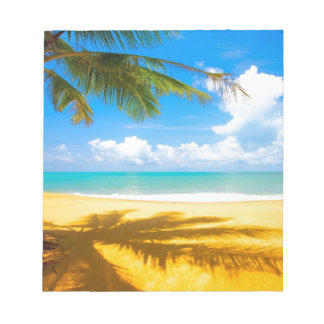 sun sea sand palm tree paradise beach notepad
