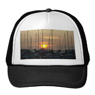 Sun Sets Over Harbor Mesh Hats