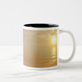 Sun sets over the Pacific Ocean from Heceta Two-Tone Coffee Mug