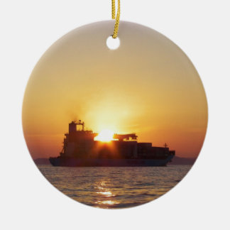Sun Setting Behind A Container Ship Christmas Ornament